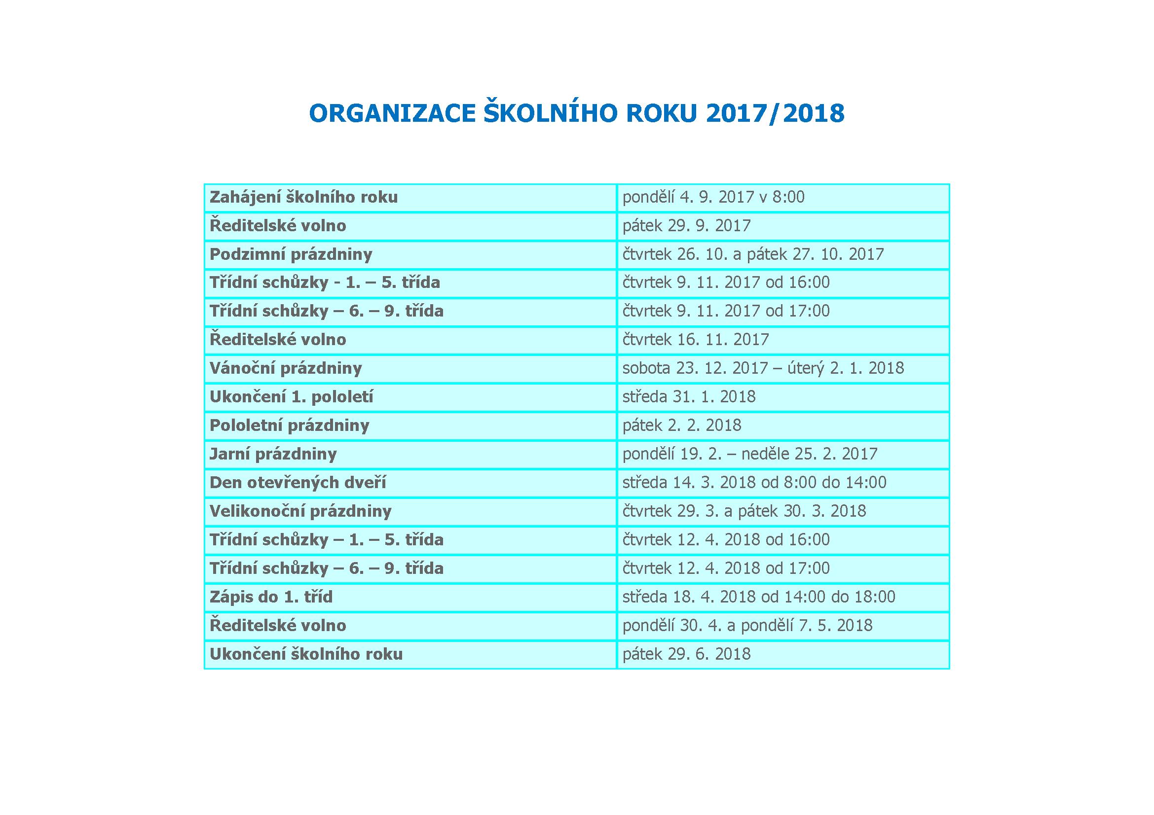 Organizace školního roku