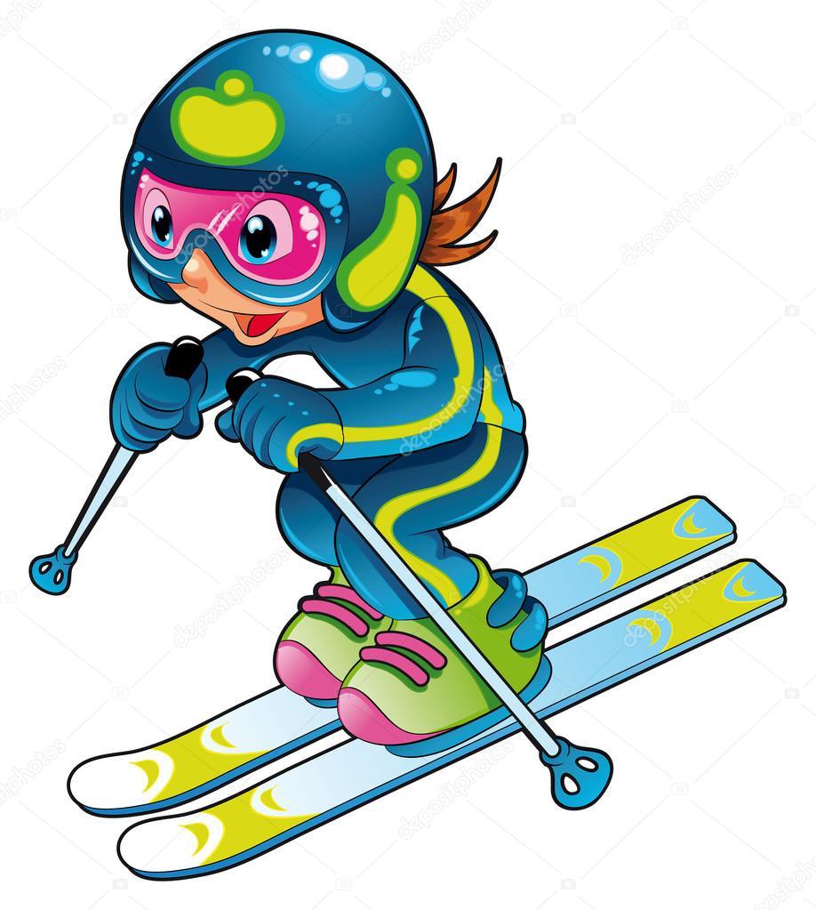 Výsledek obrázku pro lyžování děti kreslené