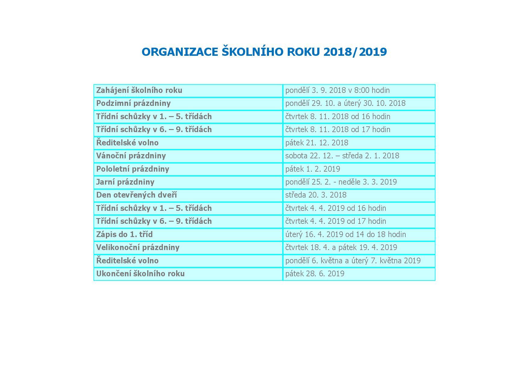 Organizace školního roku 2018-2019