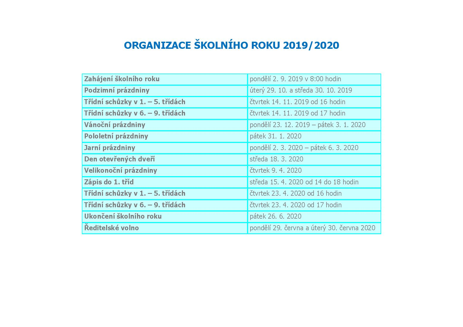 Organizace školního roku 2019-2020