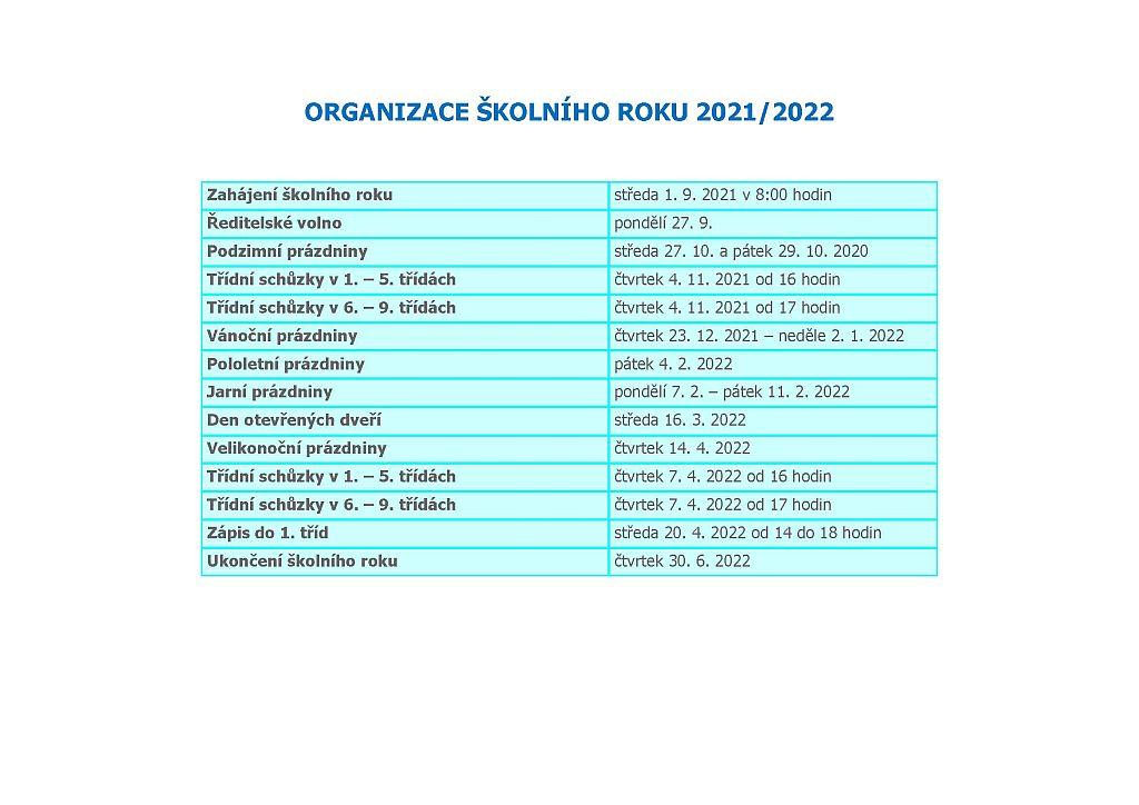 Organizace školního roku 2021/2022